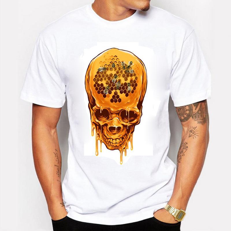Verão 2016 Homens Camisetas Moda Impressão Mel Crânio Design Exclusivo 100% Algodão de Manga Curta Ganhos Camisetas Para Homens Roupas