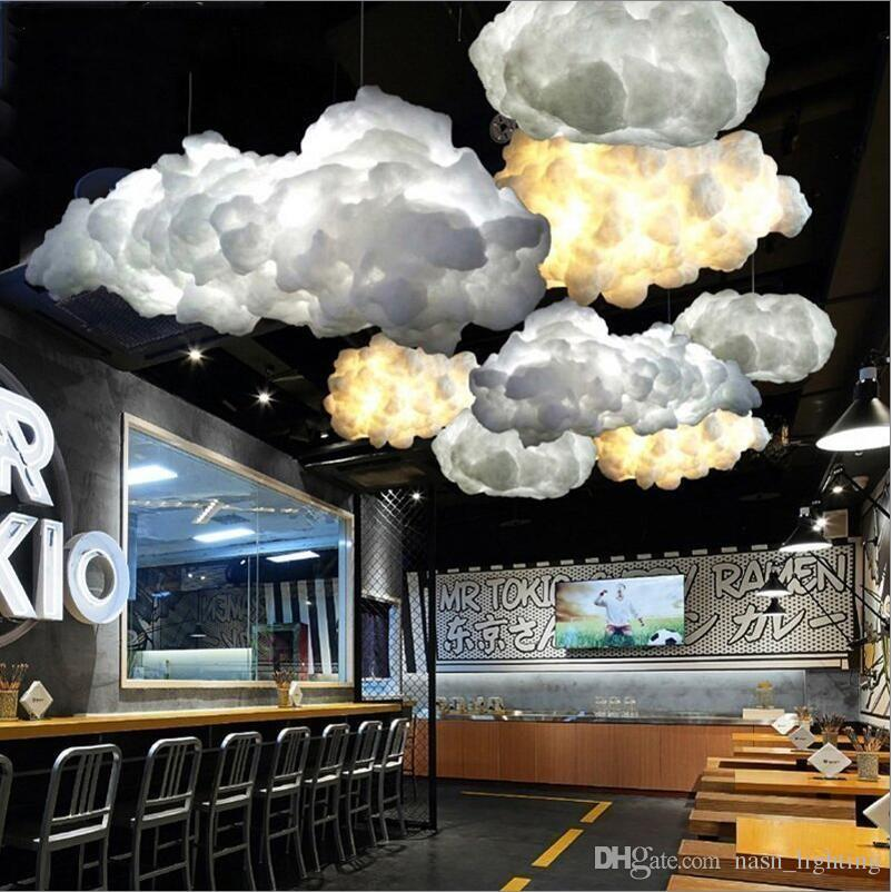 Modern Creative Romantic White Silk Cotton Clouds Pendant Light White Soft Floating Hanging Light Living room Bedroom Restaurant