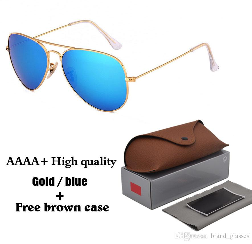 18 colors to choose High Quality Classic Pilot Sunglasses Brand Designer Mens Womens Sun Glasses Eyewear Metal frame Glass Lenses Brown Case