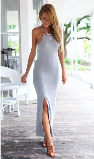 33cb39b182 ... New Fashion women dress Grey Sleeveless summer dress Cotton sexy  Backless Bandage Maxi dress women party ...