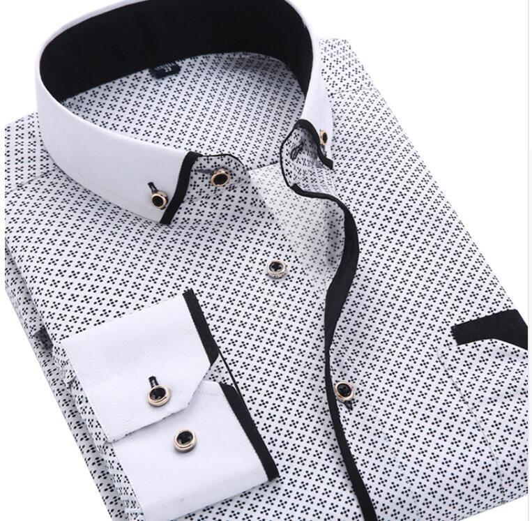 Camicia a maniche lunghe con maniche lunghe casual da uomo Camicia elegante vestibilità da uomo di marca sociale vestibilità comoda
