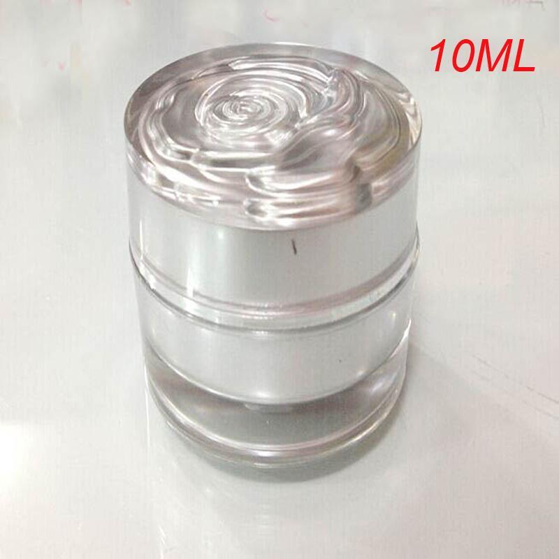 Récipient cosmétique acrylique d'argent de 10ml, pot de crème en plastique de 10g avec le couvercle de fleur, récipient cosmétique en plastique vide de récipient cosmétique de 10g