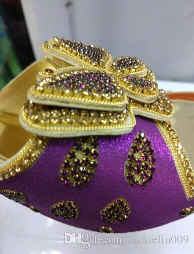 Excellent party sets matching african high heel sandal shoes and handbag with stones 1308-L38 purple,heel 8.2CM