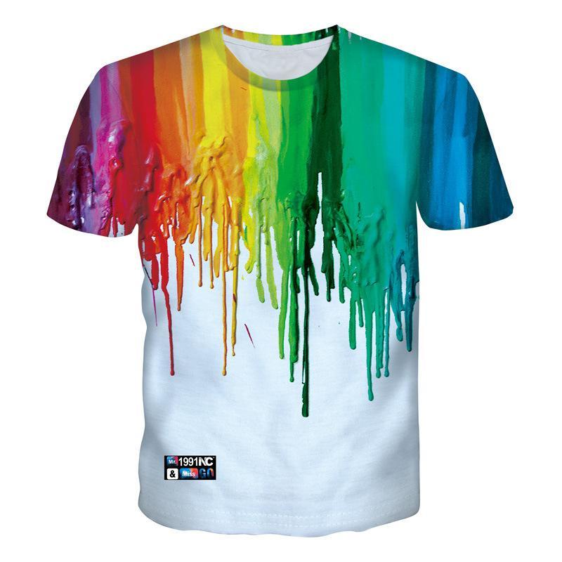 3 D Old Disturbance Lan Tide marca Colorful Pigment impresión camiseta manga hombres y mujeres amantes Dress T-shirt moda