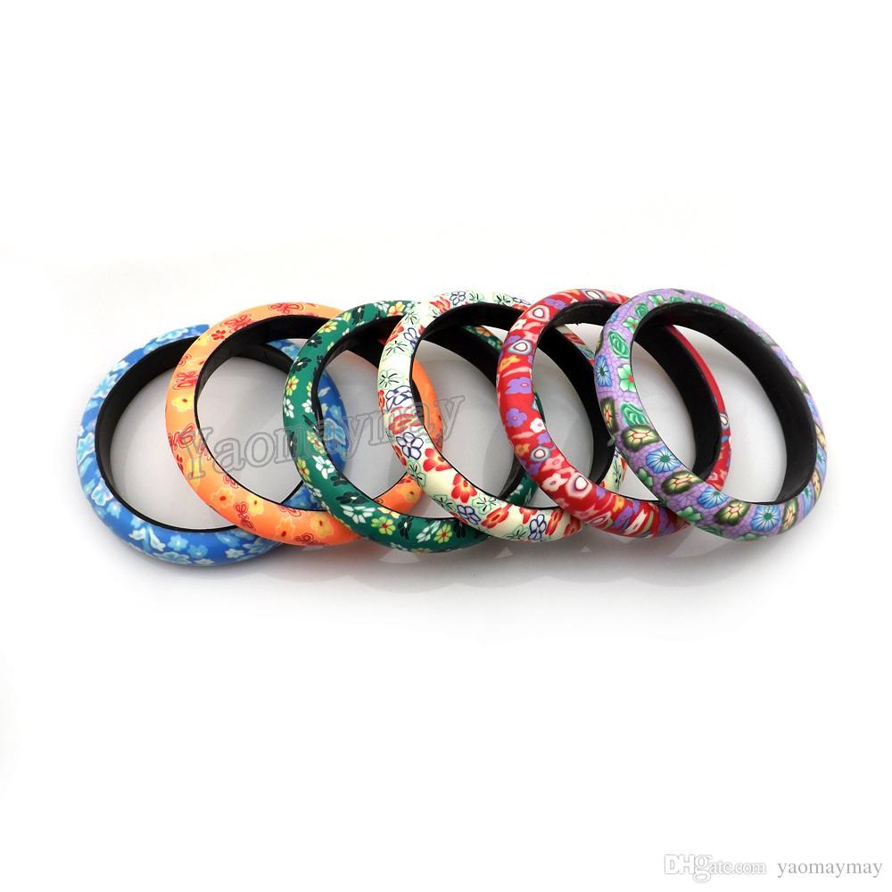 Mix Lot Flower Design Bohemian Polymer Clay Bangles For Women 12mm Width 24pcs/lot Free Shipping