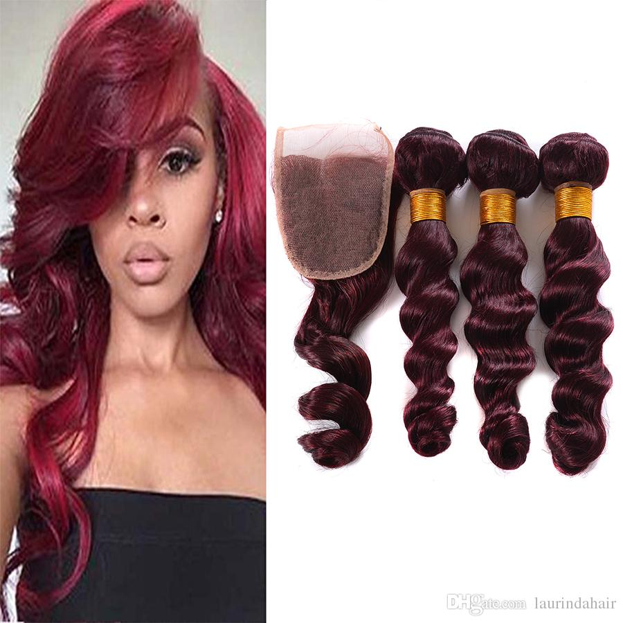 Unprocessed 99j Loose Wave Virgin Hair With Closure #99J Malaysian Human Hair 3 Bundles With Lace Closure 4Pcs Lot Red Hair