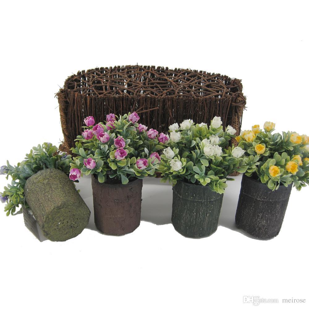 Mini Piante Artificiali con Rosa Selvatica in Legno Imitato Rotondo Pentole Tavolo Piante in vaso da fiori per Garden Office Home Decor125-1044