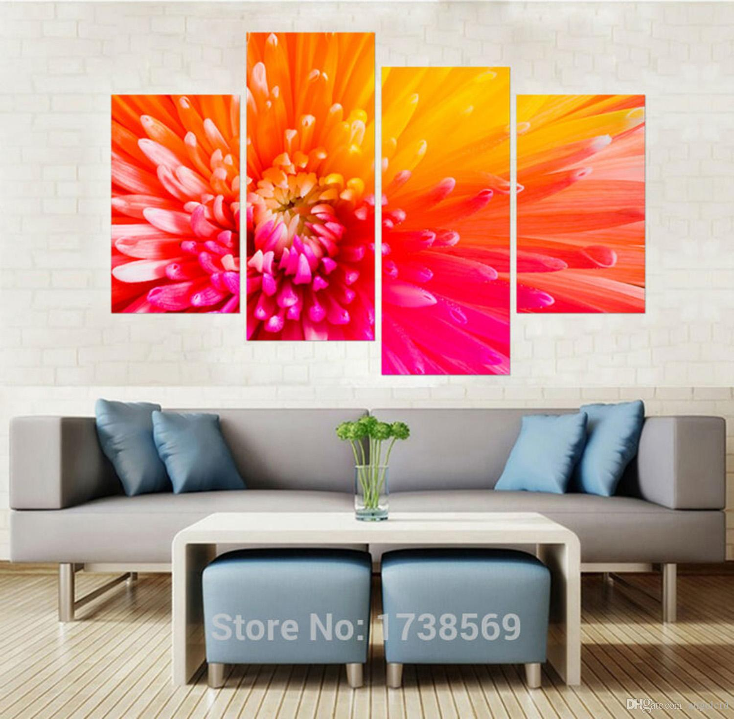 Perfect Modern Home Decoration Wall Decor Art Picture For Living Room Pink Orange  Flower Canvas Print Oil ...