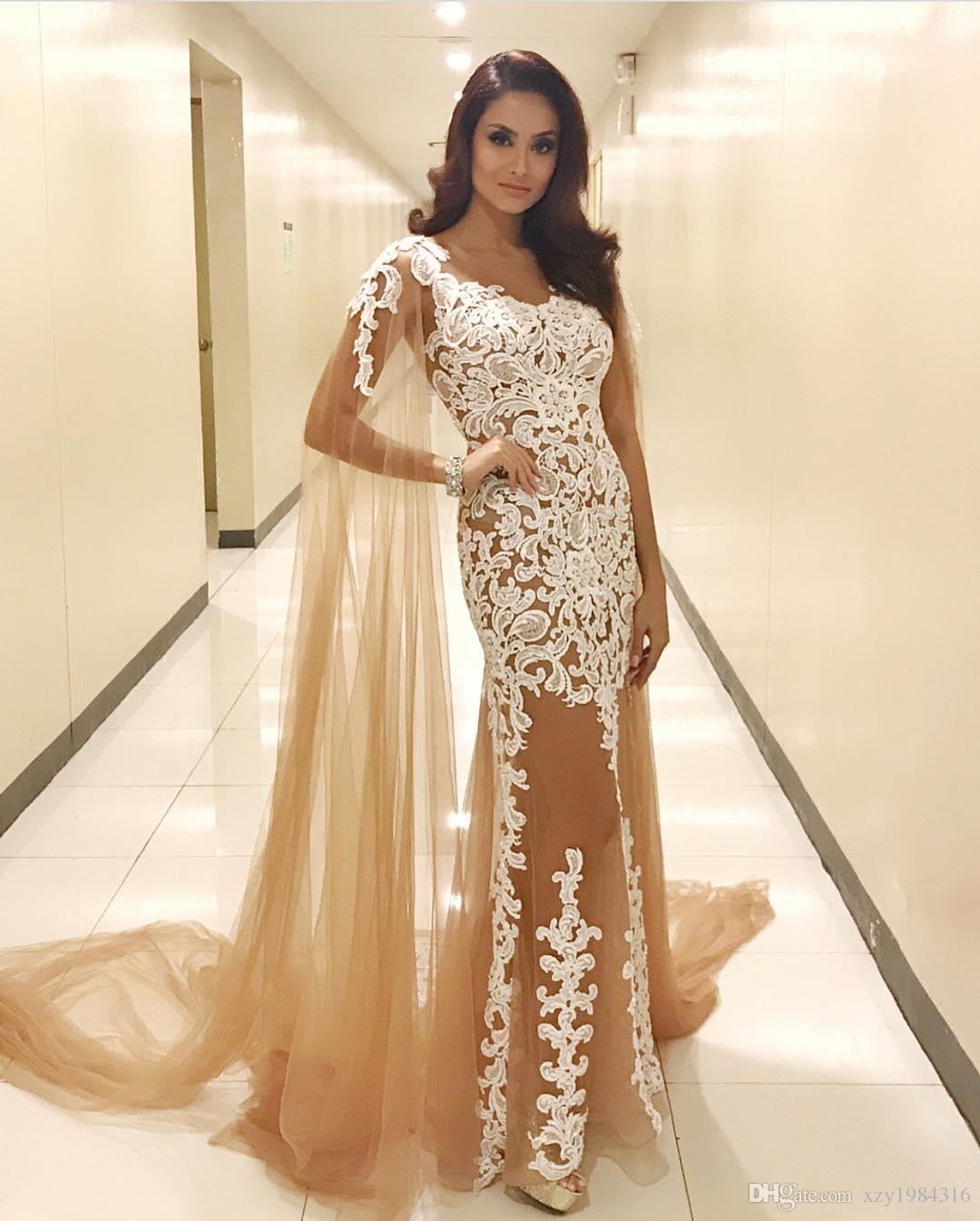 Großhandel Glamouröse Champagner Abendkleider Mit Schal Durchsichtig V  Ausschnitt Spitze Applikationen Tüll Abendkleid Sexy Mermaid Lange Abend  Party
