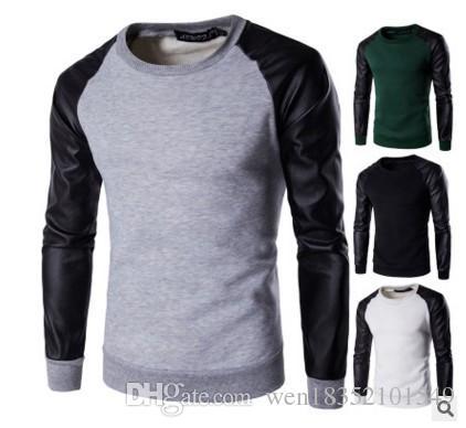Иностранные горячие 2017 Новая Европа мужчины глава искусственная кожа шить футболка мужской свитер с длинными рукавами свитер
