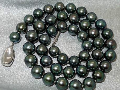 Venda quente natural 9-10mm rodada tahitian preto colar de pérolas verdes 18 polegada 925 prata
