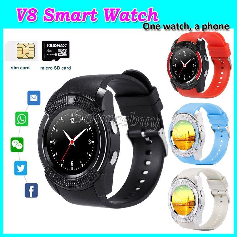 V8 Bluetooth intelligente Uhr MTK6261D 0.3MP Kamera-Stützmikro-SIM TF-Karten-Smartwatch für androide Telefon Armbanduhren geben DHL-Kleinkasten frei