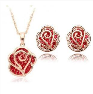 Полые Алмазная роза цветок комплект ювелирных изделий ожерелье и серьги Стад позолоченные австрийский хрусталь ожерелье ювелирные наборы