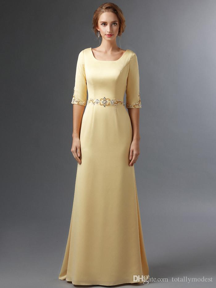 website for discount super popular elegant shoes Yellow Satin Long Modest Bridesmaid Dresses With Half Sleeves Square Neck  Beaded Waist Mother Bridesmaid Dress Elegant New Real Photo Canada 2019  From ...