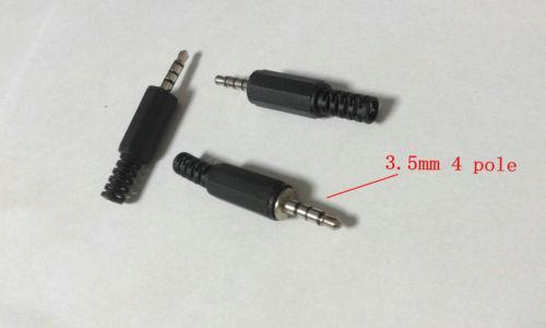 500PCS 3.5mm 4 pôles Stéréo Soudure Audio Mâle Connecteur Jack Connecteur Noir