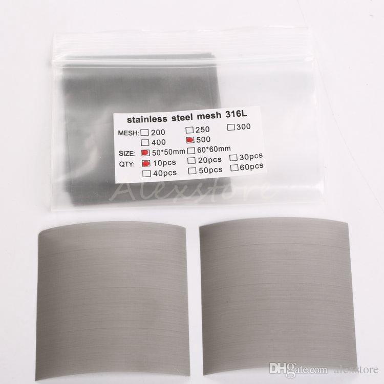 Nickle Mesh Nickle Wire Stainless Steel 316L Oil Net Smoke Screen 200 250 300 400 500 mesh 50*50MM 10pcs /bag DIY RDA DHL