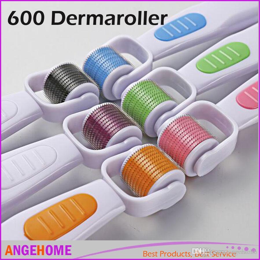 600 Micro needle Skin Roller Anti-Aging Derma roller Wrinkles Stretch Marks, 360 degree rolling head dermaroller