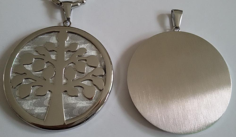 Nueva Moda 316L Medalla Redonda Grande de Acero Inoxidable en Forma de Tronco Árbol de la Vida colgante Collar, 50mm Diámetro Fondo de textura