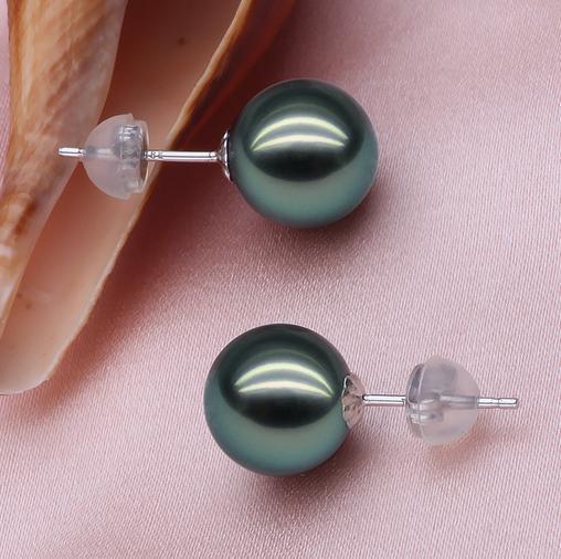 vente en gros boucles d'oreilles perle noire de Tahiti 10-11mm naturel 14k fermoir en or