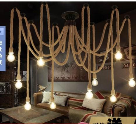 10 E27 Rope DropLight Edison Bulbs Vintage Net Spider Chandeliers Dining Room Ceiling Pendant Creative Bar