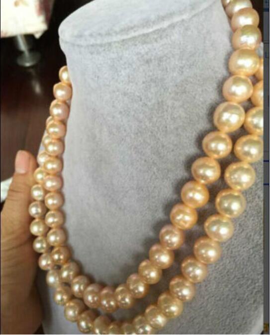 2 Reihe 12-13MM Südsee gelbe natürliche Perlenkette 17-18inch14k