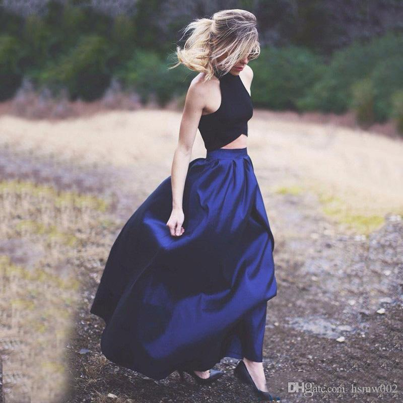 Heißer Verkauf Charming Halter Schwarz Top A-Linie Abendkleider Sexy Zwei Stück Down Royal Blue Abend Party Kleid Abendkleider Nach Maß