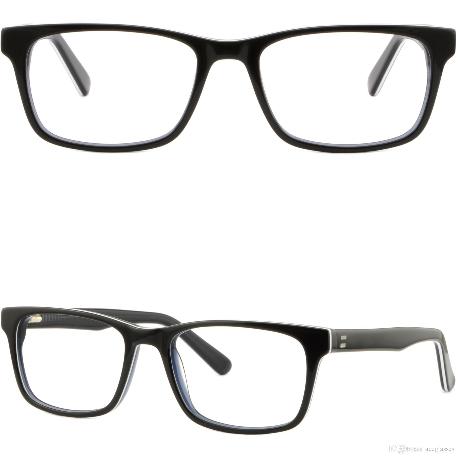 Черные мужские женские ацетат рамы Весна петли прямоугольник рецепт очки