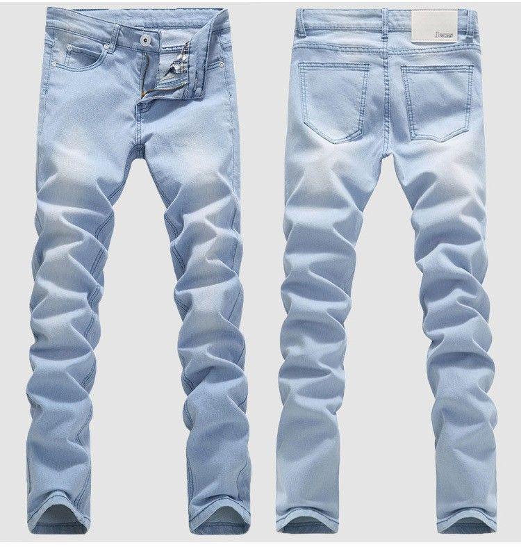 CALIENTE 2016 Al aire libre Vaquero Blanqueamiento Lavado Pies Casual Boom Elástico Lápiz Masculino Pantalones Denim Niños Hip Hop Azul claro Biker Jeans
