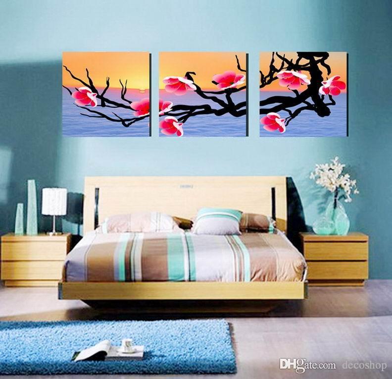 Plum Blossom Wintersweet Flower Painting Giclee Print On Canvas Home Decor Wall Art Set30341