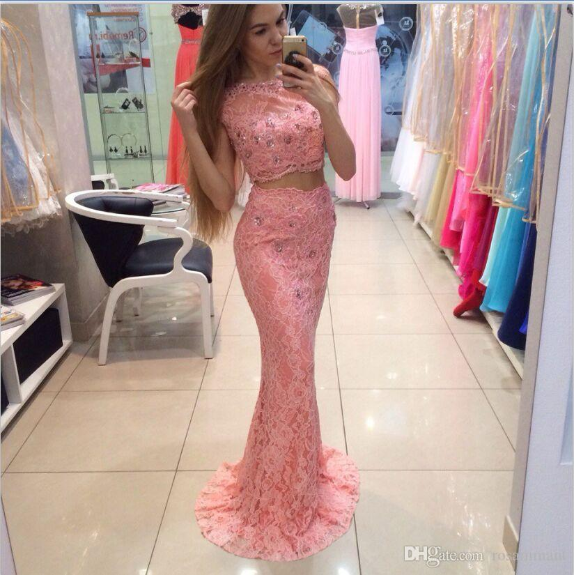 Newest Long Prom Dresses Two Pieces Party Dresses With Lace beaded Sweep train Prom Gown For Teens Mermaid dress