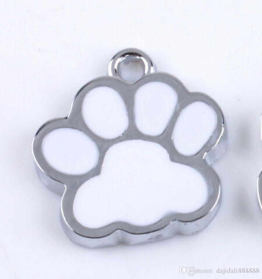 Горячо ! Цинковый сплав белая эмаль собака лапа подвески подвески 18x16mm DIY ювелирные изделия