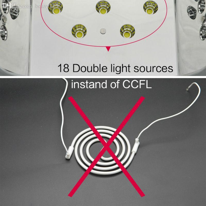 Wholesale-Free Shipping AUTO Sensor UV LED Nail Lamp nail dryer Diamond Shaped 36W White Light Curing for UV Gel Nails Polish Art Tools