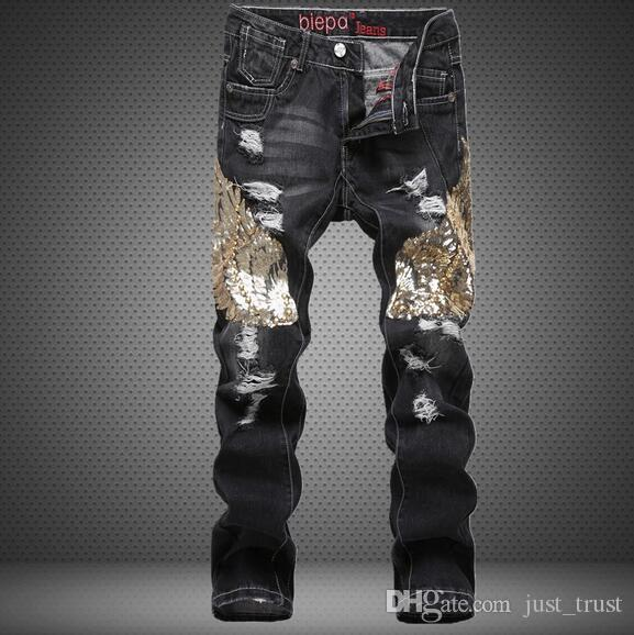 2018 New Bieber beggars Distrressed trousers Chinese Dragon Tiger embroidered jeans New fashion Ripped Straight holes Hiphop patches jeans