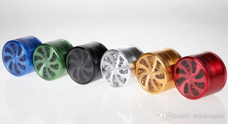DHL 무료 알루미늄 4 레이어 63mm 팬 스타일의 허브 분쇄기 날카로운 스톤 초본 담배 필터 순수한 건조 허브 담배 연어 크래커 연삭