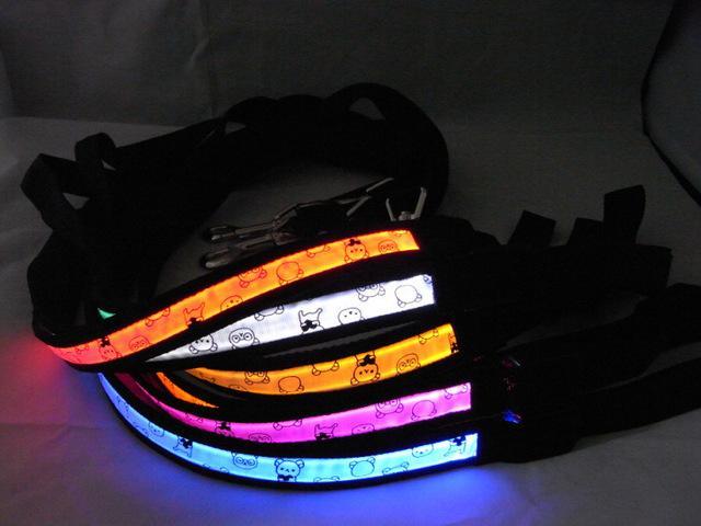 Teddy Bear Nylon Webbing LED Flashing Dog Leash Pet Lead Rope Glowing Belt (width 2.5cm * length 120cm)