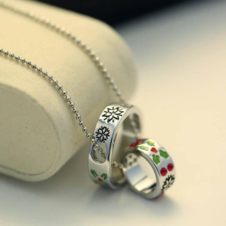 Hot Christmas Gift Verzilverd Koppels Crystal Ring Hanger Ketting Korea Kleine Ronde Cirkel Vrouwen Hangers