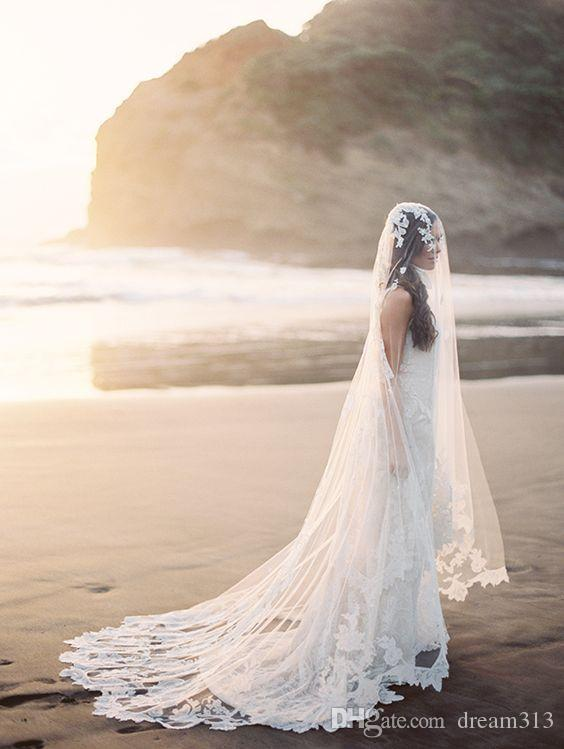 New High Quality Romantic Amazing One Layer Chapel Length Chapel Lace Applique veil Bridal Head Pieces For Wedding Dresses