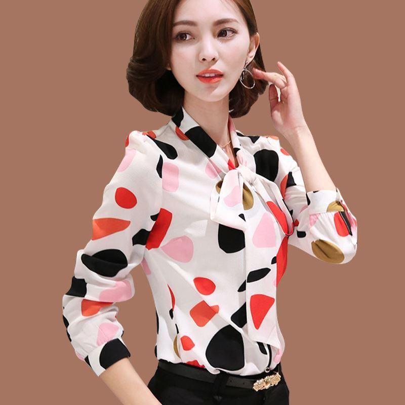 Nosić prace Office Shirt Kobiety Topy Kwiatowy Łuk Wzór Geometryczny Druku Szyfonowe Bluzki i Koszule Kobiety Odzież Chemise Femme