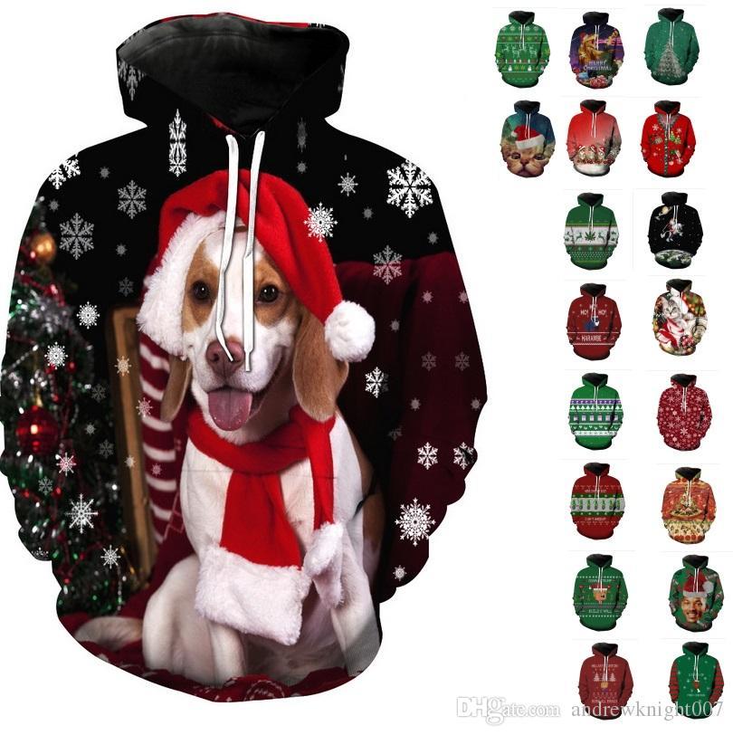 Зима Рождество пуловер Толстовки женщины мужчины 3D толстовки Мопс снег дерево шляпа оленя кошка собака Санта-Клаус бренд одежда толстовка с капюшоном плюс размер 6XL