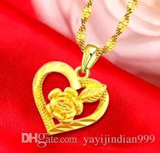 Chaming Dame Gold gefüllt Rose Blume Herz Anhänger Halskette Sfewrew