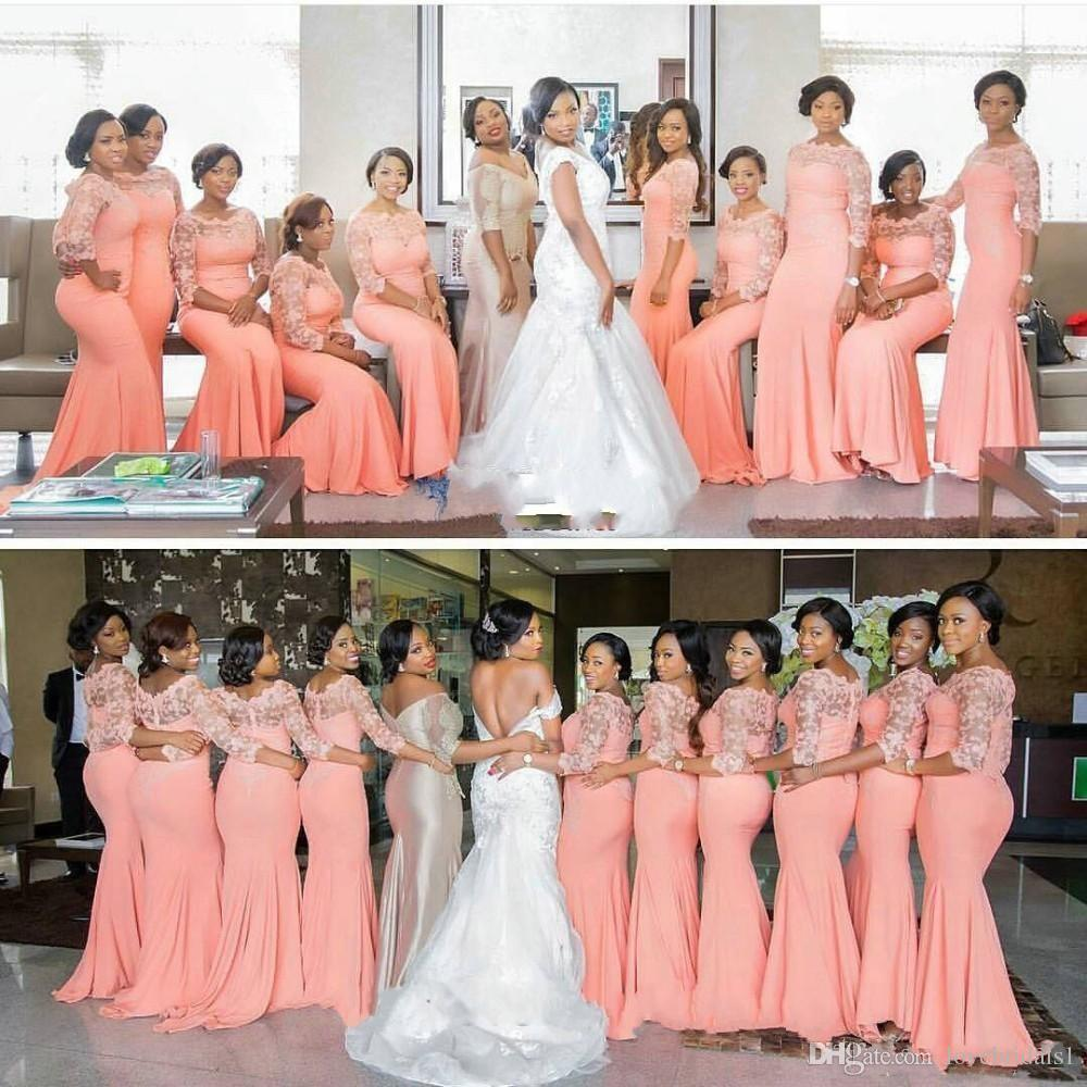 hot sale Arabic African Coral Long Bridesmaid Dresses with 3/4 Sleeves Plus Size Lace Mermaid Party Dress Beautiful Bridemaid Dresses