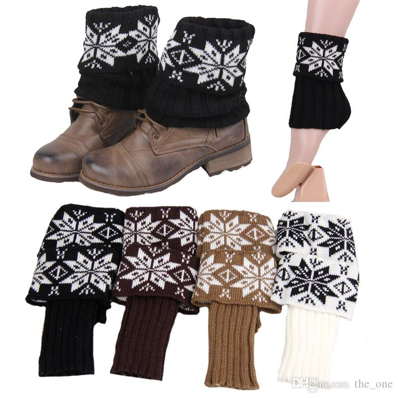 Women Christmas Snowflake Wool knitting Short Style Leg Warmer Boot Leg Cuffs Soft Laced Boot Socks free shipping