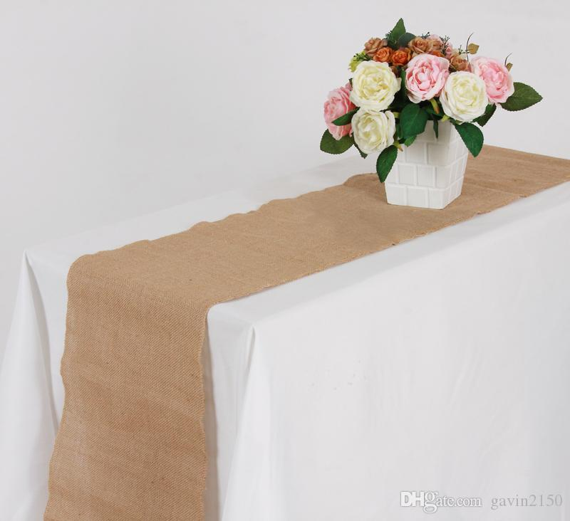 Free Shipping 10pcs Premium 30cm*275cm Vintage Burlap Hessian Table Runner Natural Jute Country Wedding Party Banquet Home Decoration
