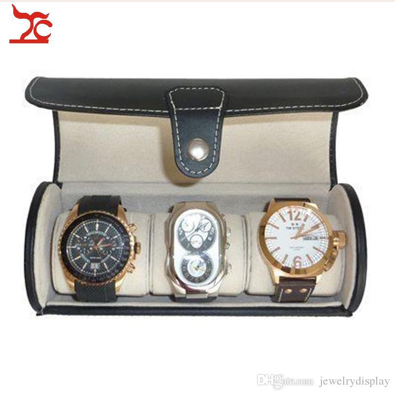 Portable Black Leather 3 Watch Travel Roll Case Jewelry Storage Box Holder Organizer