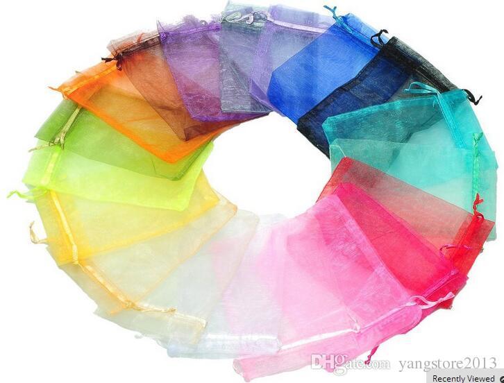 새로운 fashionwholesale 100 pc 아름 다운 혼합 된 색 Organza 파우치 쥬얼리 선물 가방 F17299-F17300 결혼식, 파티에 적합