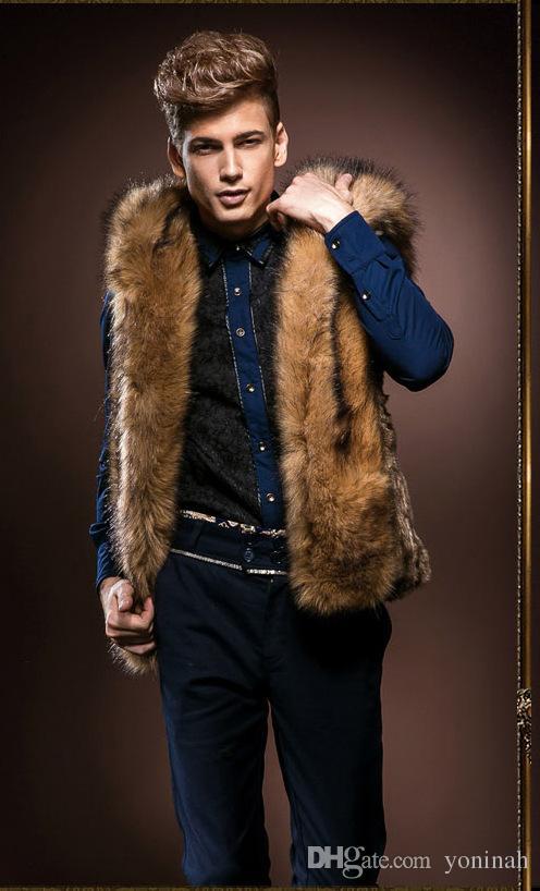 Осень-3XL Мужская зимняя куртка с меховым воротником Новый Толстовка с капюшоном с капюшоном Куртки мужские жилетки Пальто без рукавов Верхняя одежда Мужская куртка с капюшоном