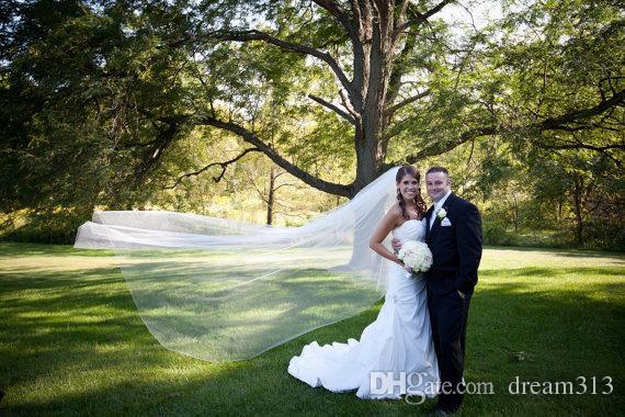 Горячая Мода Дешевые Романтические Один Слой Белый Кот Собор Фата Для Свадебные Платья Свадебные Головные Уборы