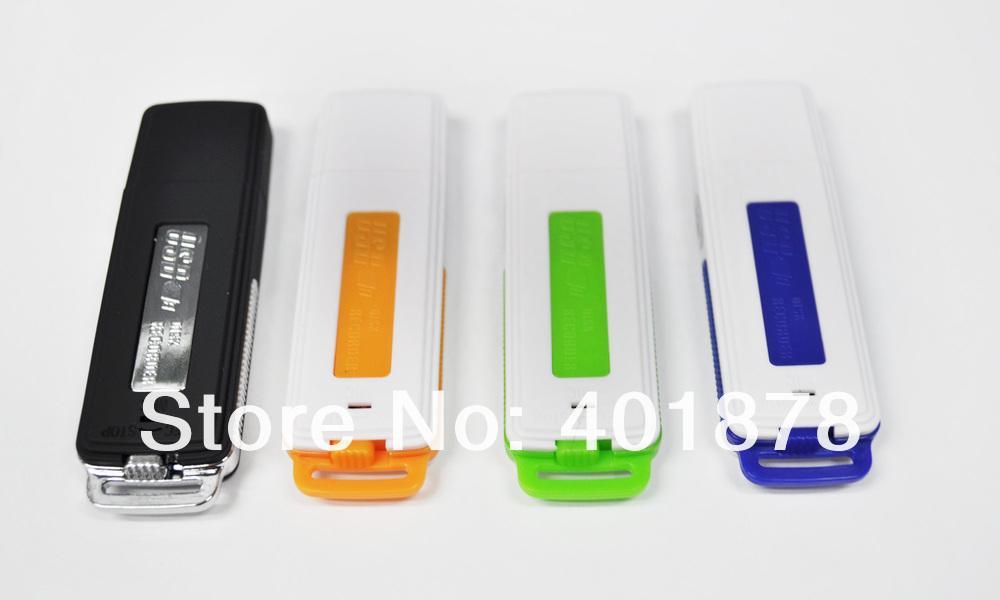 أحدث 2 في 1 مصغرة 4 جيجابايت usb الصوت الرقمي مسجل صوت الإملاء فلاش محرك القرص wav تنسيق أسود / برتقالي / أخضر / أزرق