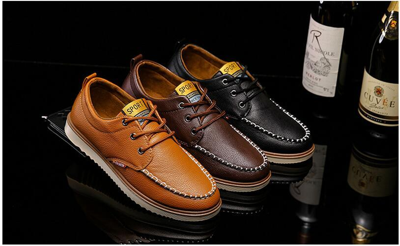 2018 Fashion men Casual shoes wholesale British style Lazy shoes Flat Dress Shoes Waterproof Leatherwear Soft sole