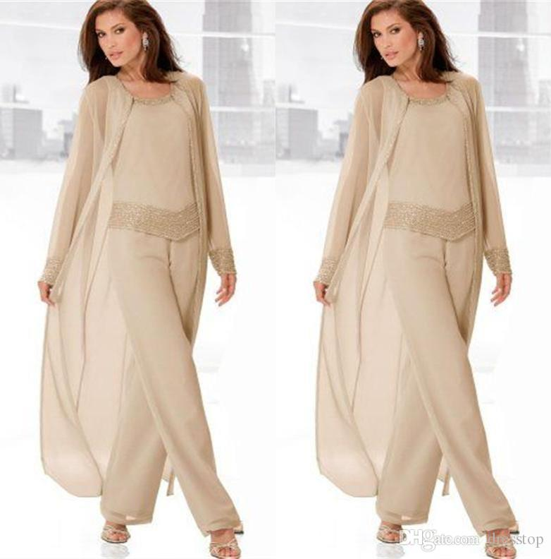 Classy Champagne Mother Of Bride Pant Suits Jewel Neck Cheap Beading Wedding Guest Dress With Long Sleeves Jacket Chiffon Mothers Dresses